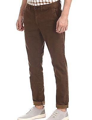Cherokee Brown Slim Fit Printed Trousers