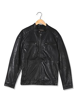 U.S. Polo Assn. Denim Co. Solid Leather Jacket