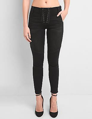 GAP Mid Rise True Skinny Ankle Jeans With Lace Up Detail