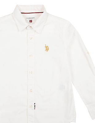 U.S. Polo Assn. Kids Boys Solid Cotton Spandex Shirt