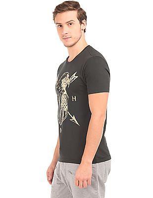 Ed Hardy Eagle And Shield Print Cotton T-Shirt