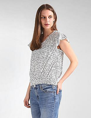 GAP Smocked Hem Printed Top