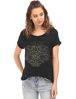 EdHardy Women Turn Up Hem Appliqued Top