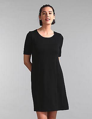 GAP Women Black Softspun Short Sleeve Swing Dress