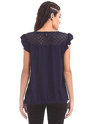 SUGR Lace Yoke Solid Top