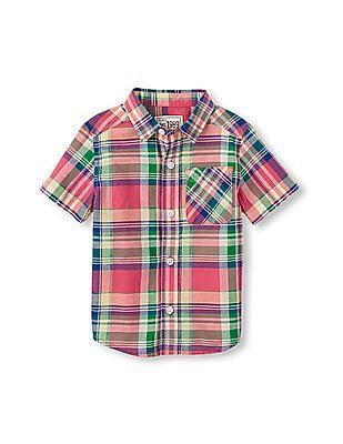The Children's Place Toddler Boy Short Sleeve Plaid Madras Shirt