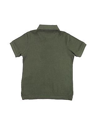 U.S. Polo Assn. Kids Boys Flag Print Pique Polo Shirt