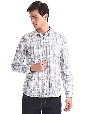 Newport White Barrel Cuff Printed Shirt