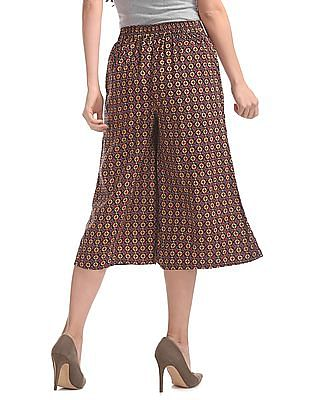 Bronz Printed Pleated Front Culottes