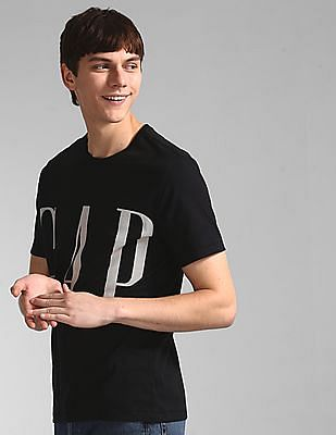 GAP Black Short Sleeve Crop Logo T-Shirt