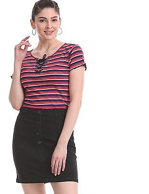 Aeropostale Pink And Navy Striped Knit Top