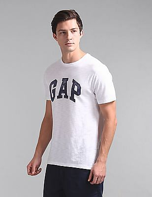 GAP Men White Logo Distress Arch T-Shirt