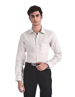 Arrow Beige French Placket Linen Shirt