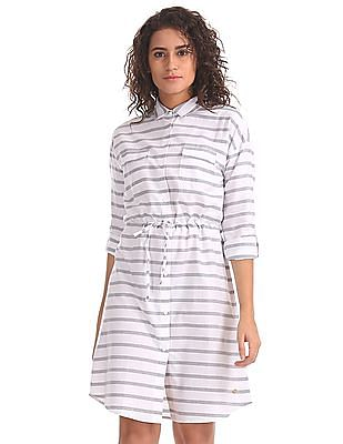 U.S. Polo Assn. Women Drawstring Waist Striped Shirt Dress