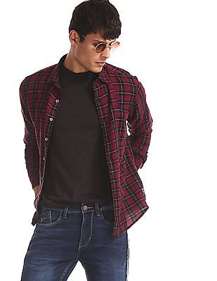 Flying Machine Maroon Regular Fit Cutaway Collar Shirt