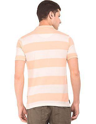 Flying Machine Striped Pique Polo Shirt