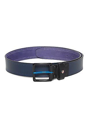 U.S. Polo Assn. Blue Metallic Buckle Perforated Belt
