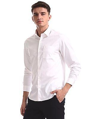 Excalibur White Super Slim Fit French Placket Shirt