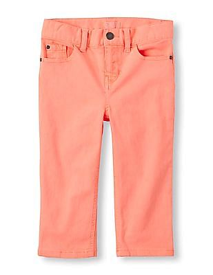 The Children's Place Girls Pink Rinsed Cropped Jeans