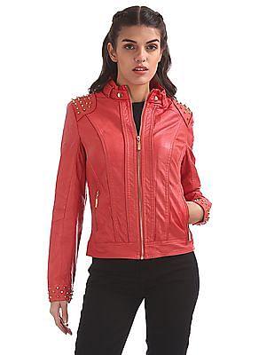 EdHardy Women Stud Embellished Panelled Jacket