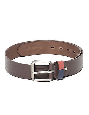 U.S. Polo Assn. Brown Textured Leather Belt