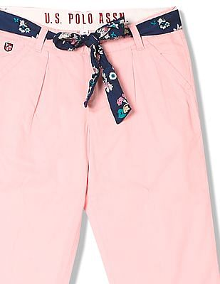 U.S. Polo Assn. Kids Girls Pleated Front Woven Trousers