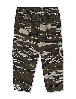 Donuts Green Boys Printed Cargo Joggers