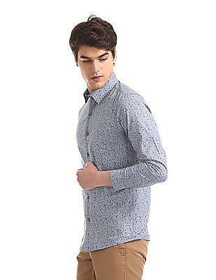 Excalibur Blue Super Slim Fit Printed Shirt