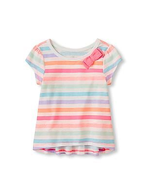 The Children's Place Toddler Girl Bow Striped Hi-Low Top