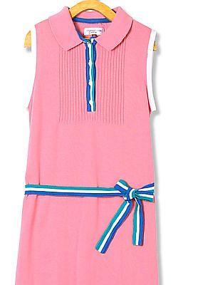 U.S. Polo Assn. Kids Girls Flat Knit Belted Waist Polo Dress