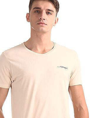 Ed Hardy Beige Crew Neck Solid T-Shirt