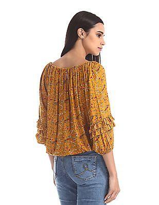 Cherokee Yellow Floral Print Blouson Top