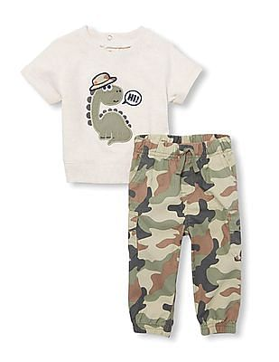 The Children's Place Baby Short Sleeves Dino Top And Camo Jogger Pants Set