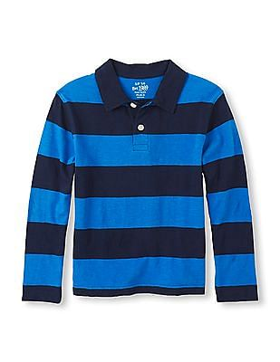 The Children's Place Boys Long Sleeve Striped Polo Shirt
