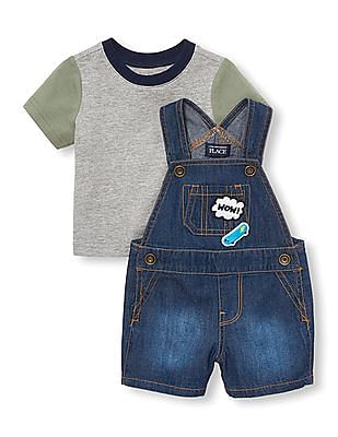 The Children's Place Baby Blue Short Sleeves Top And Patch Graphic Denim Shortalls Set