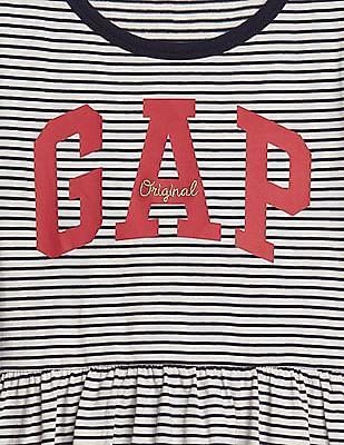 GAP Girls Stripe Logo Fit And Flare Dress