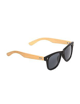 Flying Machine Black Textured Square Frame Sunglasses