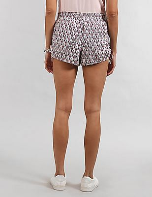 GAP Women White Dreamer Ruche Shorts In Poplin