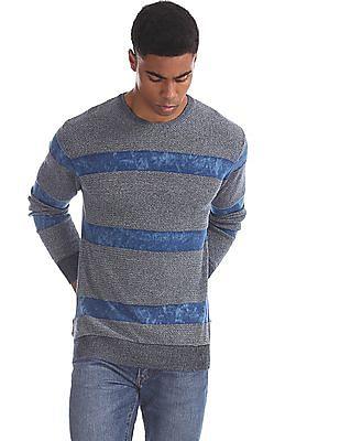 Aeropostale Blue Crew Neck Patterned Sweater