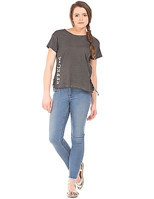 Flying Machine Women Relaxed Fit Slubbed Knit Top