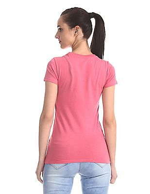 Aeropostale Pink Embroidered Logo Crew Neck T-Shirt