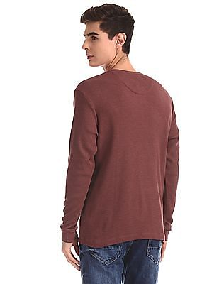 Arrow Sports Red Patterned Henley T-Shirt