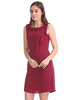 Elle Studio Solid Ruffled Shift Dress