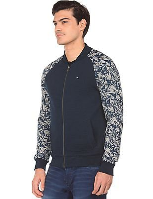 Arrow Sports Printed Panel Quilted Bomber Jacket
