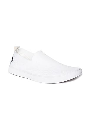 U.S. Polo Assn. White Textured Knit Slip On Shoes