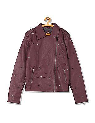 EdHardy Women Stud Embellished Biker Jacket