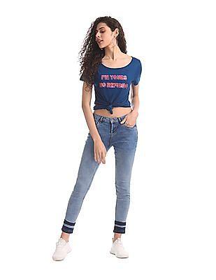 SUGR Blue Round Neck Embellished T-Shirt
