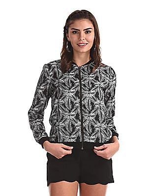 SUGR Grey And Black Printed Bomber Jacket