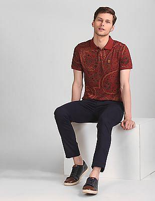 True Blue Red Slim Fit Paisley Print Polo Shirt