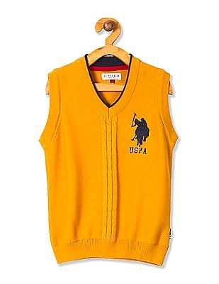 U.S. Polo Assn. Kids Boys Sleeveless V-Neck Sweater
